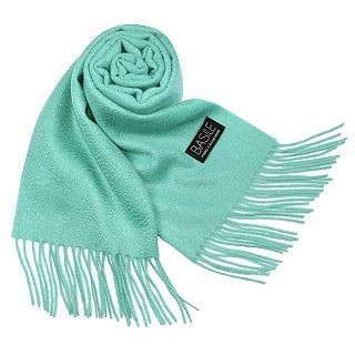 Basile Extra Soft Solid Cashmere Long Scarf Aqua Clothing