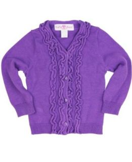 RuffleButts Toddler Girls Purple Sweater Knit Ruffled