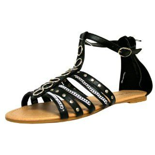 Black Strap Studded Gladiator Chain Womens Sandals Shoe Size 7 Shoes