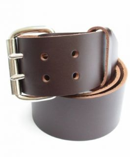 Mens Heavy Duty Dark Chocolate Brown Leather Belt 2 Wide