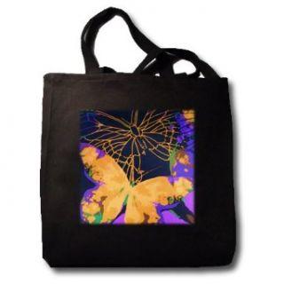 Big Orange Butterfly   Black Tote Bag 14w X 14h X 3d