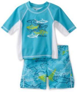 Osh Kosh Baby boys Infant Shark Rash Guard Set, Blue, 12