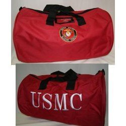 Red Marine Corps USMC Marines Logo Barrel Duffle Bag