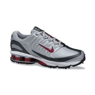 Nike Mens Shox Golf Shoes   Metallic Silver / Fire