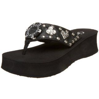 Grazie Womens Treasure Thong,Black,5.5 M US Shoes