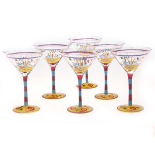 Happy Birthday 10 oz Martini Glass (Set of 6)