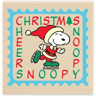 Peanuts Snoopy Christmas Postage Wood mounted Rubber Stamp