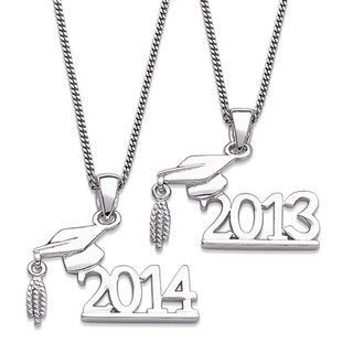 Sterling Silver Graduation 2013 or 2014 Year Necklace