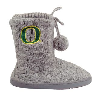 Womens University of Oregon Cable Knit Slipper Booties