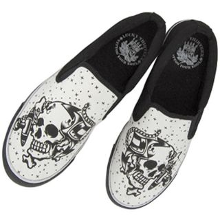 Lucky 13 Anchor Skull Slip on Shoes