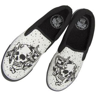 Lucky 13 Anchor Skull Slip on Shoes