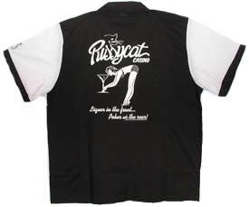 Pussycat Casino Bowling Shirt White & Black Retro Bowler