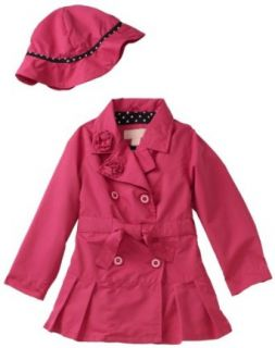 London Fog Baby girls Infant Solid Trench Coat, Pink, 12