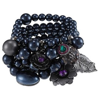 Roman Silvertone Faux Pearl Cluster Multi strand Stretch Bracelet