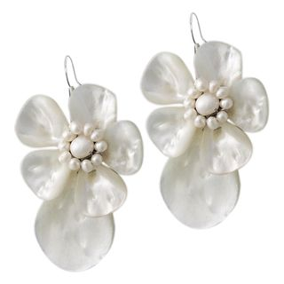 Sterling Silver Mother of Pearl Shell and Pearl Earrings (Thailand