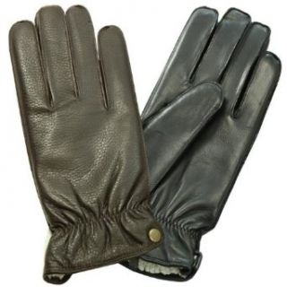 Isotoner Mens Sherpasoft Fleece Lined Leather Gloves Brown
