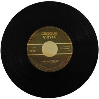Coffret Dessous de Plat Aspect Vinyle 33 Tours Vintage Verre Croque