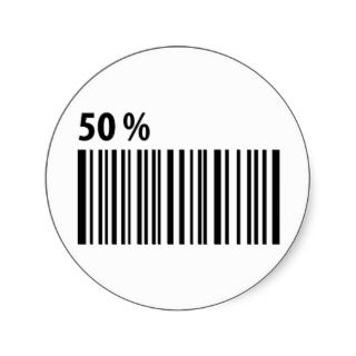 black barcode 50 per cent icon round sticker