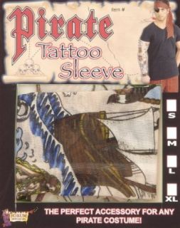 Adult Large   Pirate Costume Tattoo Arm Sleeve (One sleeve