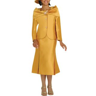 Divine Apparel Womens Gold Two piece Skirt Suit