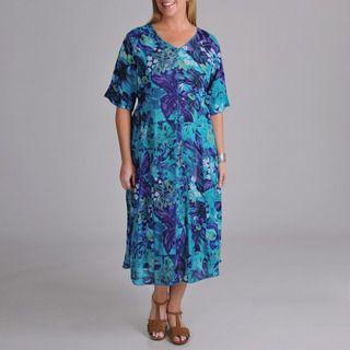 La Cera Womens Plus Floral Short Sleeve Dress
