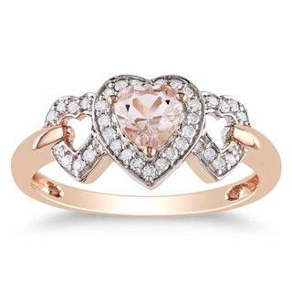 Miadora 10k Pink Gold Morganite and 1/8ct TDW Diamond Heart Ring (G H