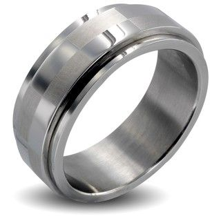 Stainless Steel Mens Checker Spinner Ring
