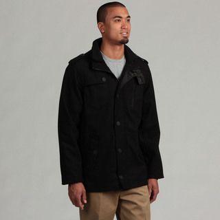 Brave Soul Mens Black Wool Military Style Jacket