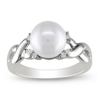 Miadora 10k White Gold FW Pearl and 1/10ct TDW Diamond Ring (7 mm) (H