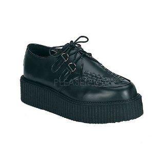inch Platform Black Leather Basic Creeper Shoe Black Leather Shoes