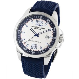 Stuhrling Original Mens Monterey Blue Rubber Strap Sports Watch