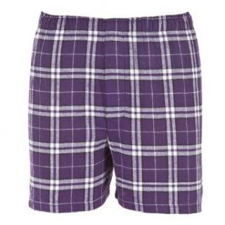 Youth Purple White Plaid Check Classic Cut Flannel Boxer