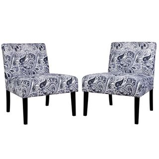 Portfolio Niles Navy Blue Paisley Armless Chairs (Set of 2