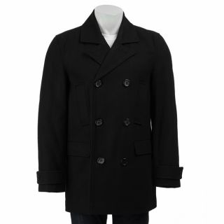 Guess Mens Black Wool Blend Peacoat