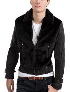 Doublju Mens Casual Belted Leather Fur Jacket Clothing