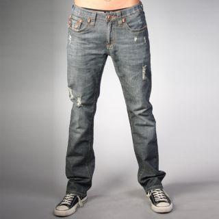 Laguna Beach Jean Co. Mens Dark Blue Skull Pocket Slim Jeans Today $