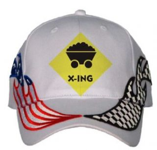 COAL MINER CROSSING USA Flag / Checker Racing Hat