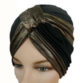 Glamorous Black & Gold Turban Hat Head Cover Sun Cap