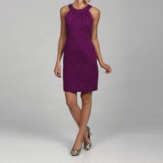 Taylor Womens Scoop Neck Embellished Jacquard Dress