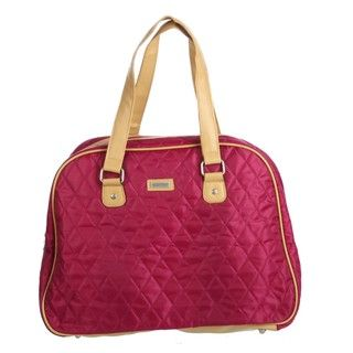 Ellen Tracy Raspberry Quilted Weekender Carry On Tote