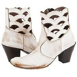 Siren by Mark Nason Belle White Distressed Leather Boots