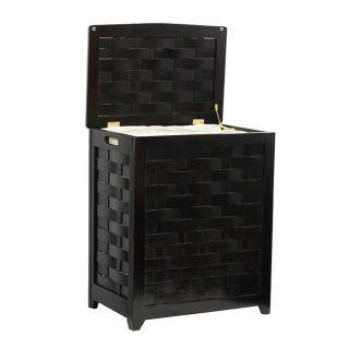 Mahogany finished Rectangular Veneer Wood Laundry Hamper with Interior