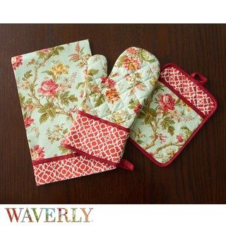 Waverly May Medley Aquamarine Kitchen Towel, Oven Mitt and Pot Holder