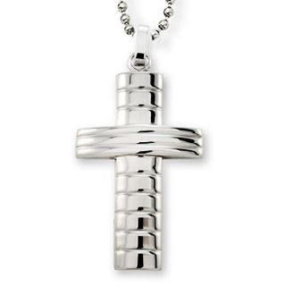 Stainless Steel Groove Design Cross Necklace