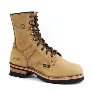 AdTec Mens Brown Crazy Horse Leather Logger Boots