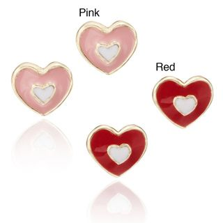 Little Miss Twin Stars 14k Gold plated Childrens Enamel Heart Stud