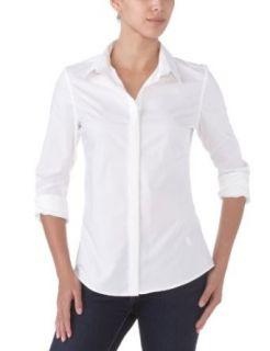G Star Womens Cl Basic Slim Long Sleeve Shirt, White, X