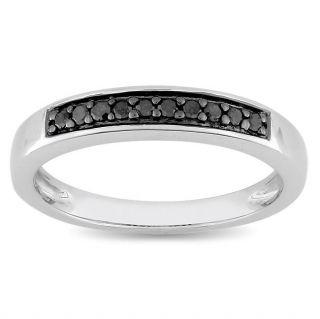 Miadora Sterling Silver 1/10ct TDW Black Diamond Ring