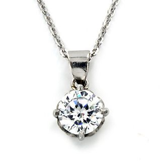 Stainless Steel Dazzling Cubic Zirconia Necklace