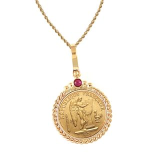 14k Gold Ruby French 20 Franc Lucky Angel Twisted Rope Bezel Gold Coin